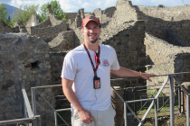 Aaron Eiseler visited Pompei, Italy, with Central's football team this summer.