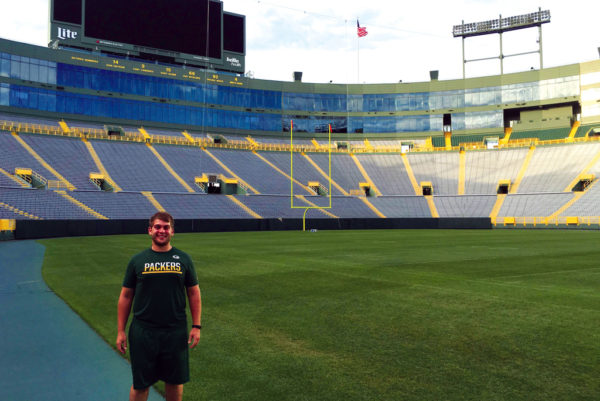 Seth Eash '18 interned with the Green Bay Packers this fall.