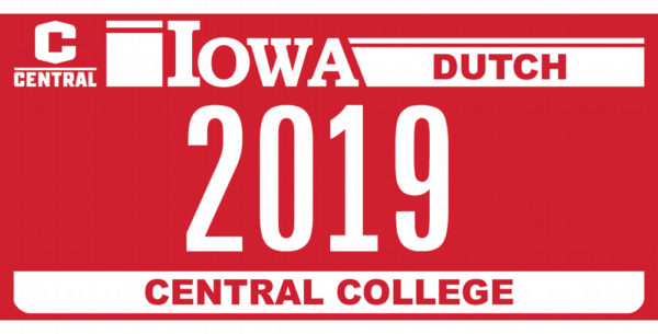 New Central College license plate