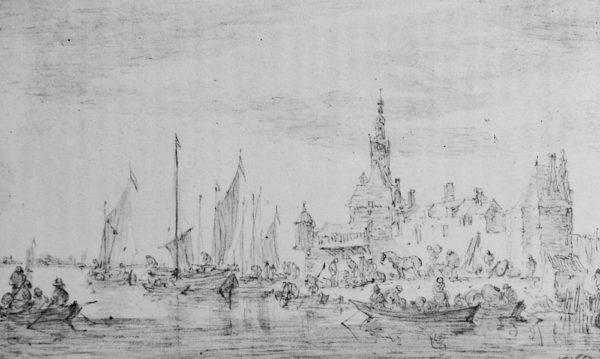 """""""Port on a River"""" by Jan van Goyen (1596-1656)"""