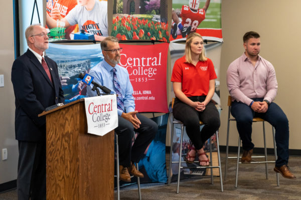 Left to right: Mark Putnam, president; Keith Jones, Mark and Kay DeCook Endowed Chair in Character and Leadership Development and professor of psychology; Anne Williamson '20; and Parker Majerus '20 field questions from the media at a news conference announcing Central's new annual tuition price.