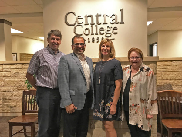 Robert Franks, left, and Cynthia Mahmood, right, are joined by Tej and Karen Dhawan after it was announced the Dhawans established the Franks-Mahmood Fund for Undergraduate Research. The news was shared at a faculty endowed chairs' conference dinner on campus Sept. 20.