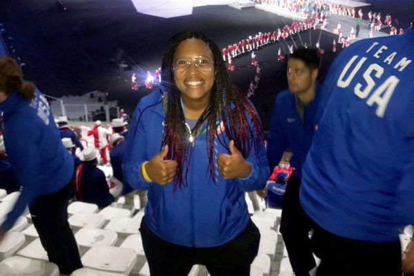 Taryn Pennington '13 at the 2019 Pan-Am Games in Lima, Peru, working as a high performance health care services provider for Team USA.