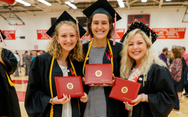 Eleanor Witt, Madeline Allen and Elizabeth Pearson pose for a photo following Commencement 2019.
