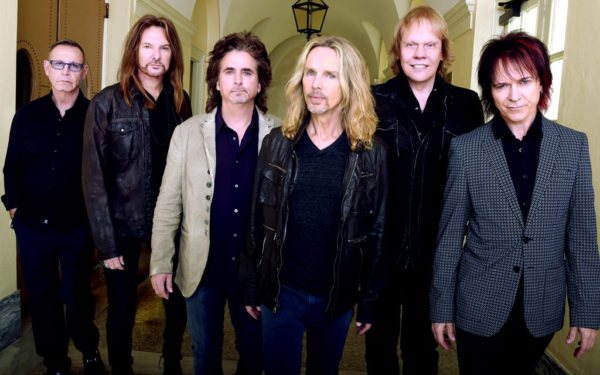 "The current incarnation of Styx, led by Tommy Shaw, includes, from left: Chuck Panozzo, Ricky Phillips, Todd Sucherman, Shaw, James ""JY"" Young and Lawrence Gowan."