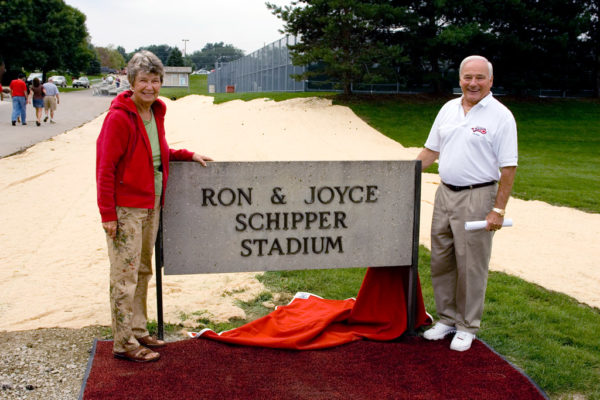 Joyce Schipper with former Central President David Roe at the naming of the Ron & Joyce Schipper Stadium in 2006.