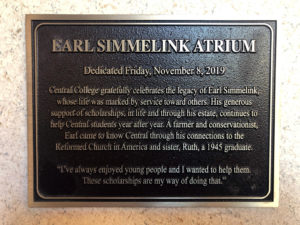 Earl Simmelink Atrium commemorative plaque.