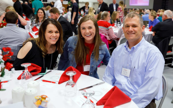 Students and donors interact during the Scholarship Dinner in April 2019 in P.H. Kuyper Gymnasium