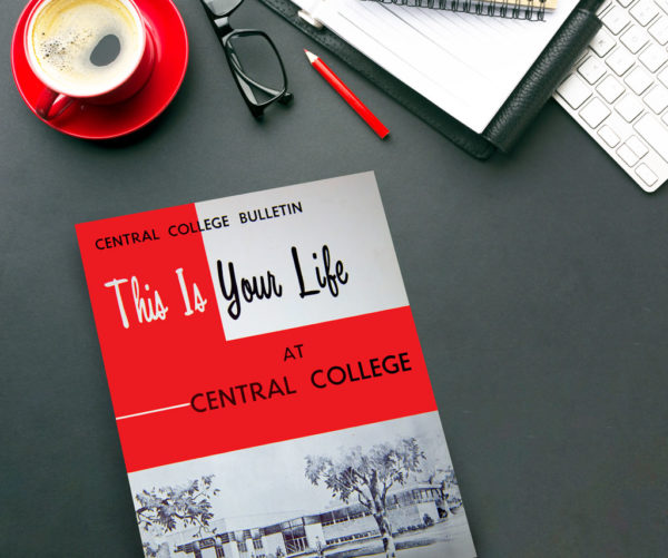 """This 1957 issue of the """"Central College Bulletin"""" served as that year's admission brochure. Inside, photo spreads featured all aspects of college life from academics to athletics."""