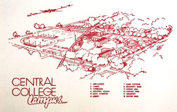 1950s map of Central College