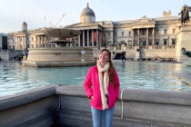 Marin Harrington '21 in London's Trafalgar Square.