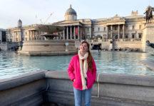 Marin Harrington '21 in London's Trafalgar Square.