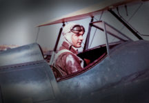 A rare color photograph of Paul Metcalf, flight instructor, ready for takeoff.