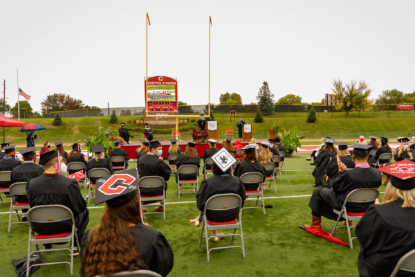 Students listen and reflect on their time at Central during Commencement.