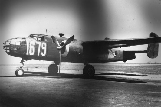 Lt. Robert G. Menning '42 was copiloting a B25 C bomber such as this when he was shot down in the mountains of North Africa. Credit: United States Air Force
