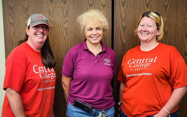 Kim Roorda, Olga Saoutina-Crumes and Trisha Van Wyk are three of Central's facilities staff following new cleaning protocols to help keep the campus as germ-free as possible.