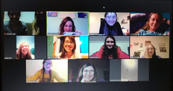 Madison Zink '23 and fellow students during their first virtual Bible study meeting.
