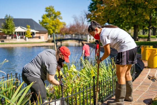 Students working near the pond during Service Day 2020.