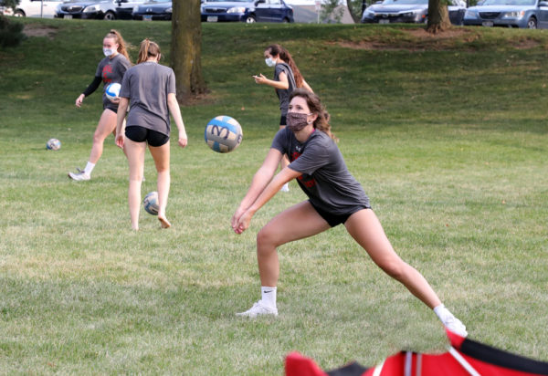 The need to remain physically distanced forced the Central volleyball team to send small segments of its squad to locations beyond P.H. Kuyper Gymnasium, even outdoors, where Krissa Larson '22 got some early fall season practice.