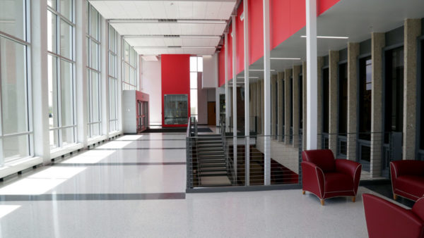 The M. Joan Farver Atrium provides a welcoming entrance to P.H. Kuyper Gymnasium and recognizes the legacy of the Kuyper family, which provided a record $4.2 million lead gift.