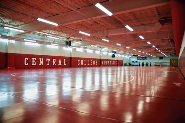 The new wrestling center in P.H. Kuyper Gymnasium is nearly triple the size of the previous team practice room, accommodating a roster that has grown to 40-50 wrestlers.