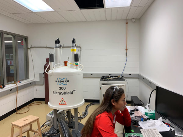 A Central student uses the new spectrometer.