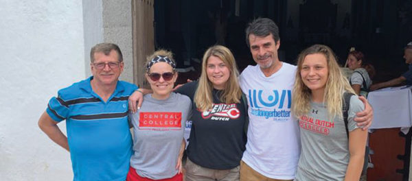 (L-R): Rogelio Barrantas Arias; Sara Shuger Fox, associate professor of exercise science; Cierra Rustad '20; Jorge Vindas; and Sarah Casterline '20. Shuger Fox, Rustad and Casterline traveled to Nicoya, Costa Rica, to study blue zones. There they met with Vindas, founder of the Blue Zone Association of Nicoya, and were led by Arias, a local guide. Photo supplied by Shuger Fox.