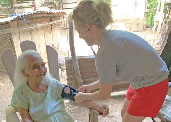 Sara Shuger Fox, associate professor of exercise science, researching centenarians and their health in Nicoya, Costa Rica. Photo supplied by Shuger Fox.