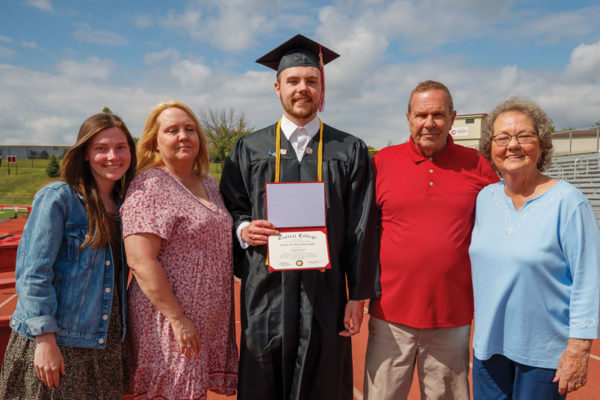 James Boatright '21 (center) celebrated his graduation from Central with family and friends. Pictured, left to right, Paige Skinner, Boatright's girlfriend; Lauri Auxier, Boatright's mother; and James and Pat Auxier, Boatright's grandparents. Also in attendance, Rick and Amanda Boatright, James Boatright's father and sister, and Jesse Evans, friend.