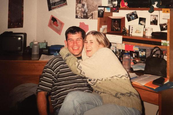 Justin '02 and Amanda Hansen Fletcher '00 in Gaass Hall.