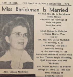 Newspaper clipping announcing Harriet Wolbrink's marriage.