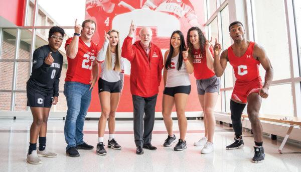 Mark Putnam and several Central Dutch student-athletes.