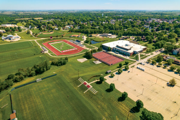 A drone shot of A.N. Kuyper Athletics Complex showcases many of Central College's updated exterior athletics facilities. Photo by: Andrew Gorman '19