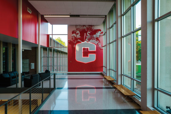 The M. Joan Kuyper Farver Atrium received a radical facelift with a display of Dutch athlete's and a backlit Central athletics logo.