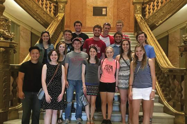 Zachary Steward '17 (second row, far right) with the Central A Cappella Choir at the Colorado State Capitol.