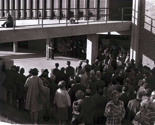 A crowd gathered for the opening and dedication of P.H. Kuyper Gymnasium in 1970.