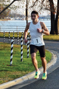 Austin O'Brien '14 set an 8,000-meter record of 29:19 for the Runablaze Club in Des Moines on April 11.