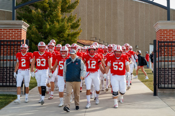 McMartin leads the Dutch football team to the field on gameday.