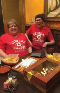 Ann Klann Philips '81 and daughter Katie Phillips '19 celebrate as Central alumni.